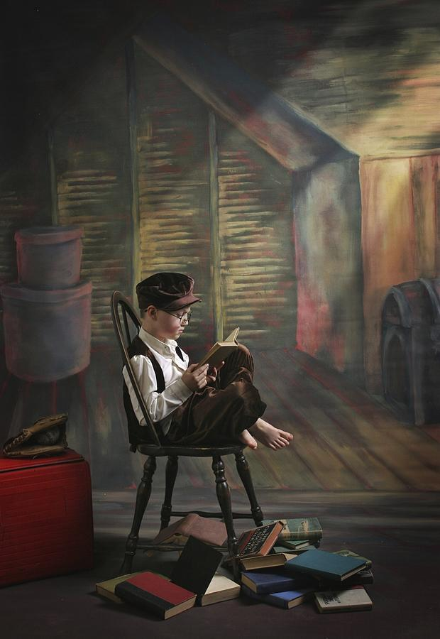 Reading Photograph - A Boy Posed Reading Old Books Victoria by Pete Stec