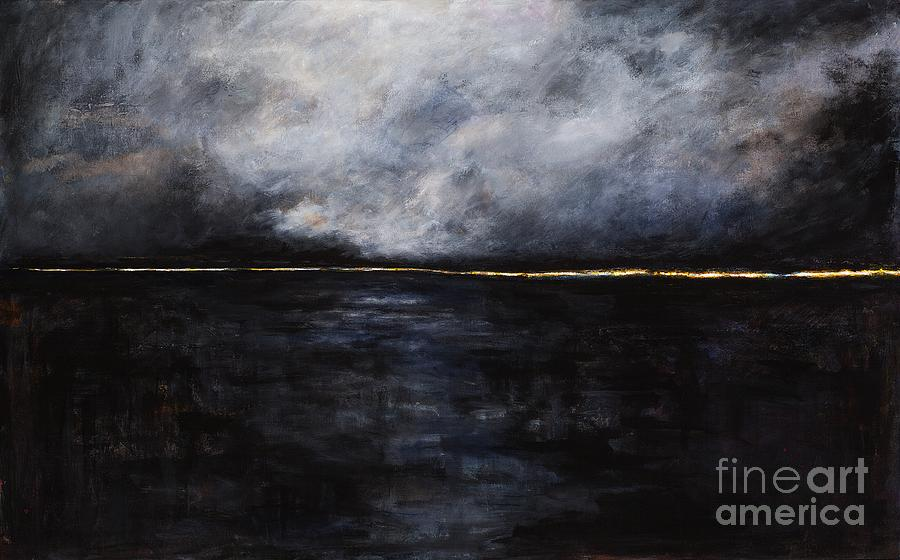 Ocean Landscapes Painting - A Break In The Skyline by Frances Marino