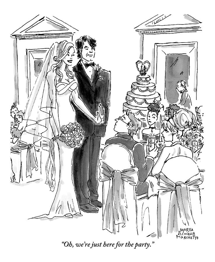 A Bride And Groom To The Guests At Their Wedding Drawing by Marisa Acocella Marchetto