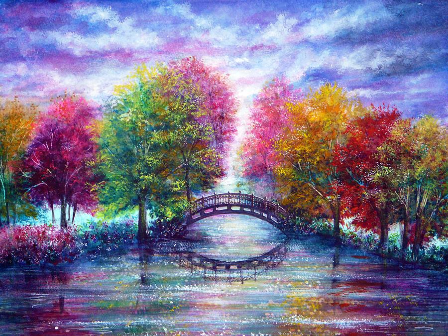 Nature Painting - A Bridge To Cross by Ann Marie Bone