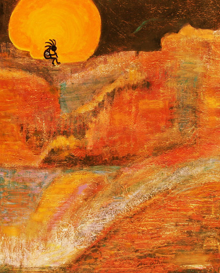 A Brighter Night With Kokopelli On A Marmalade Moon Night Painting by Anne-Elizabeth Whiteway