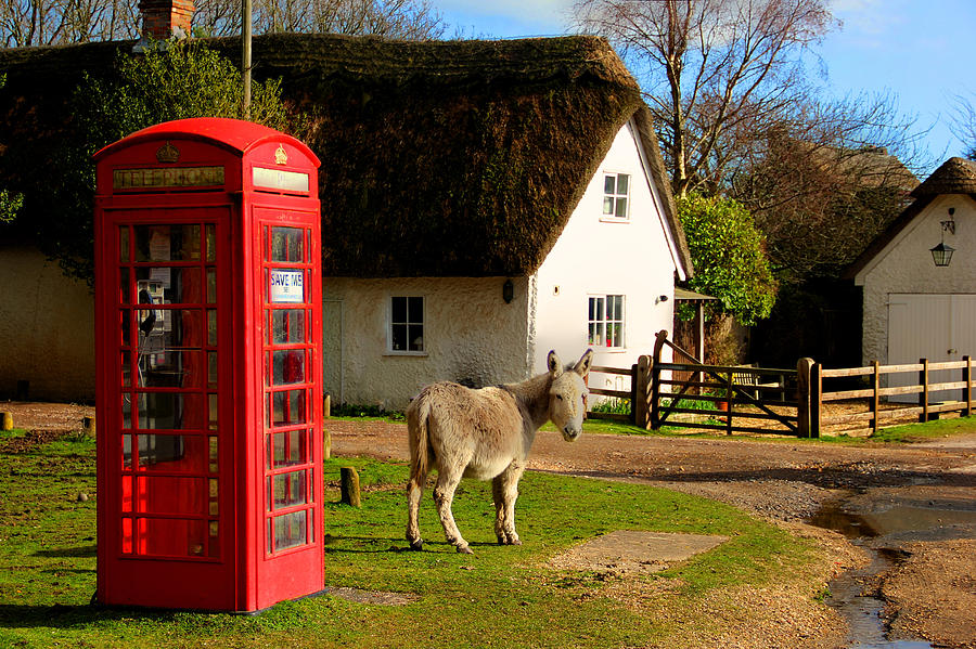 Phone Box Photograph - A British street scene by Peggy Berger