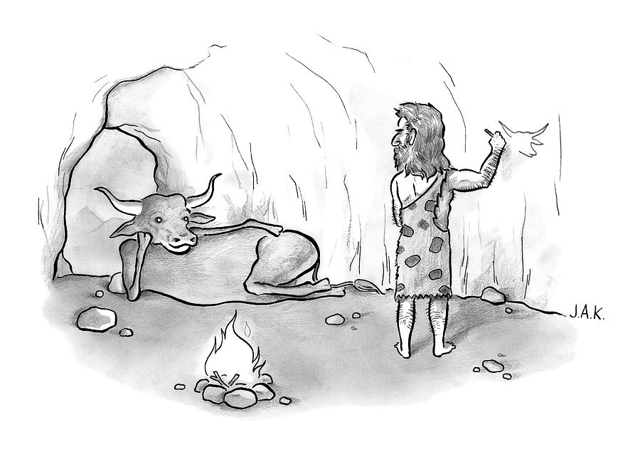 A Buffalo Poses Seductively For A Cave Man Drawing by Jason Adam Katzenstein