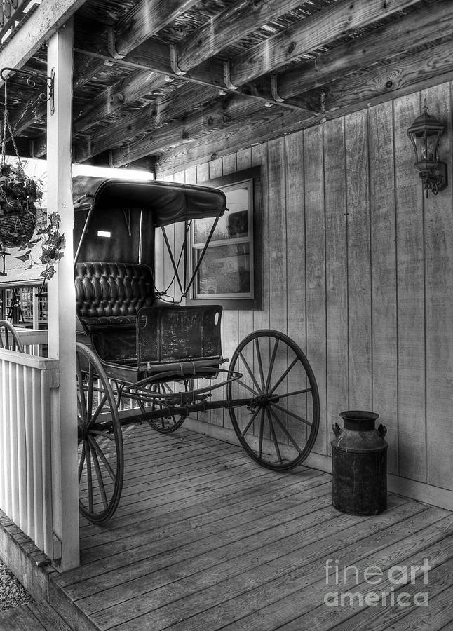 Buggy Photograph - A Buggy On A Porch Bw by Mel Steinhauer
