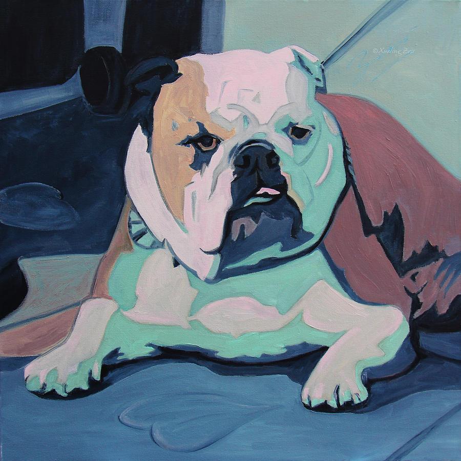 Bulldog Painting - A Bulldog In Love by Xueling Zou