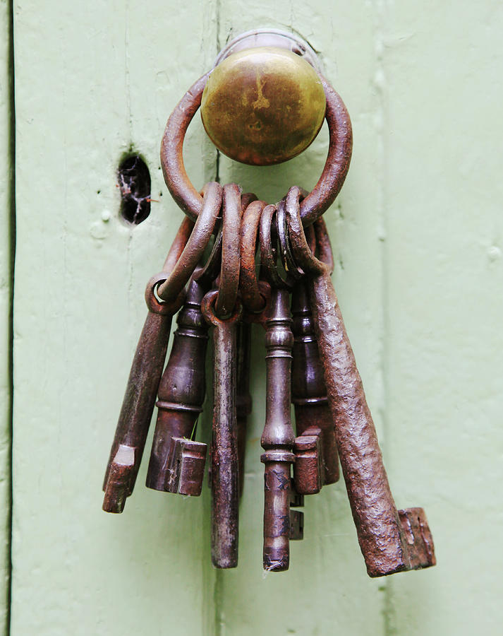 A Bunch Of Old, Chunky Keys On A Ring Photograph by Kathy Collins