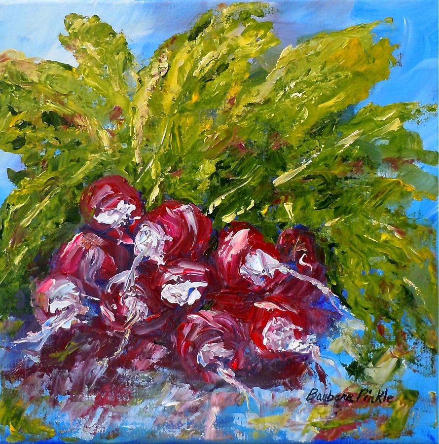 Vegetables Painting - A Bunch Of Radishes by Barbara Pirkle