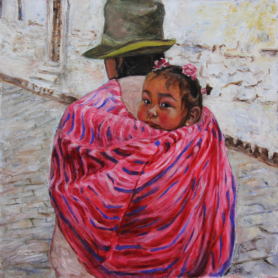 Portrait Painting - A Bundle Buggy Swaddle - Peru Impression IIi by Xueling Zou