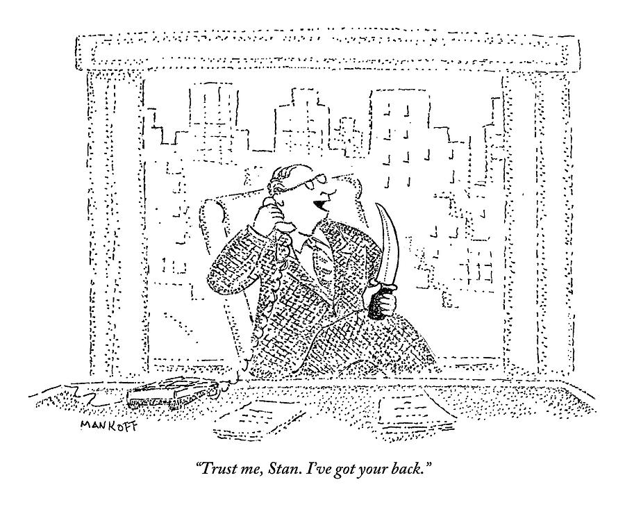 Back Drawing - A Businessman Sits At A Desk On The Phone Holding by Robert Mankoff