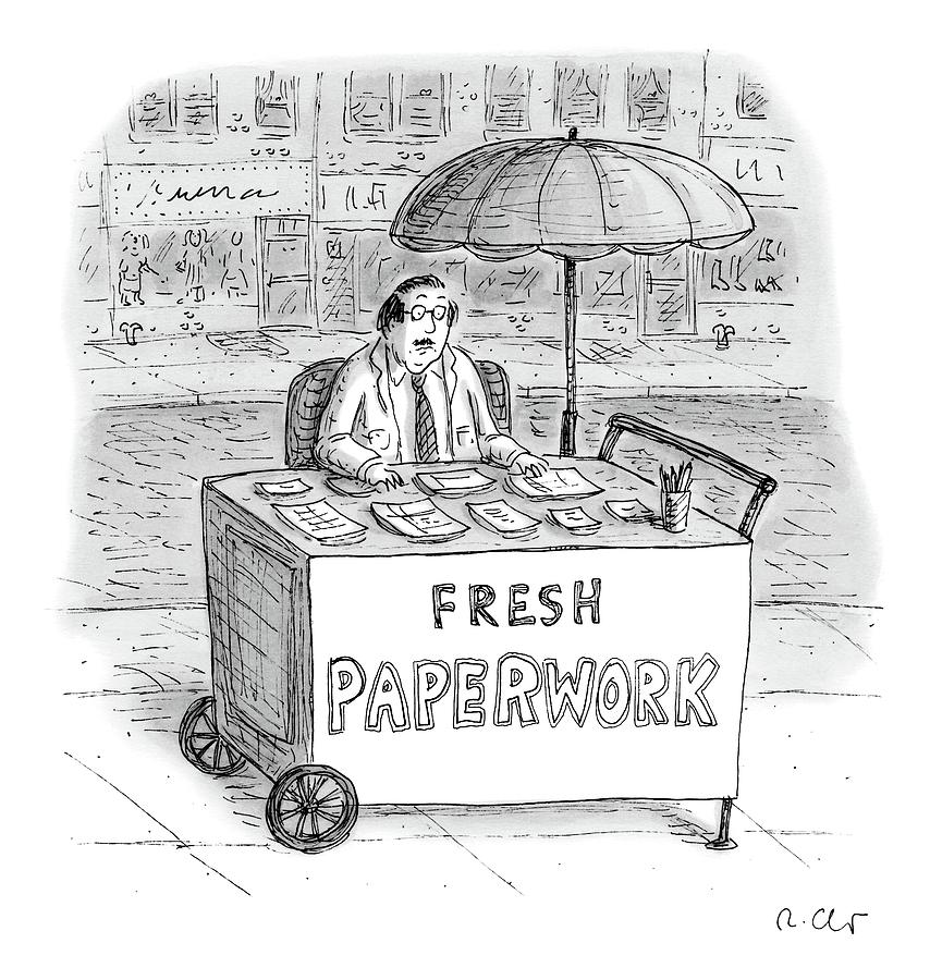 A Businessman Sits Behind A Food Cart/desk Drawing by Roz Chast