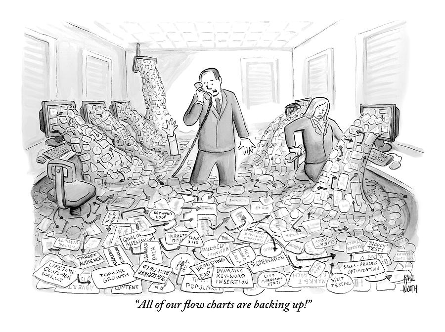 A Businessman Talks On The Phone As His Office Drawing by Paul Noth