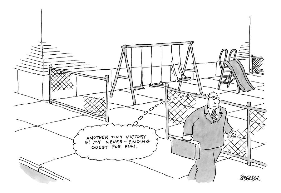 A Businessman Walks Away From A Playground Drawing by Jack Ziegler