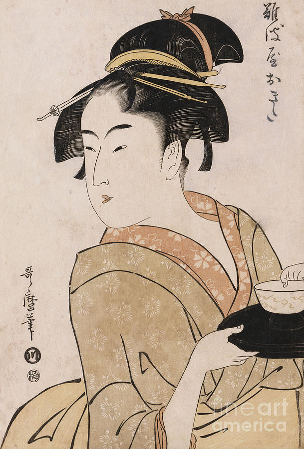 Female Painting - A Bust Portrait Of The Waitress Okita Of The Naniwaya Teahouse by Kitagawa Utamaro