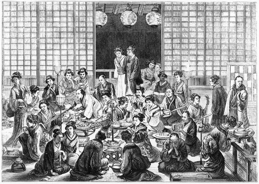Japanese Drawing - A Bustling Japanese Restaurant  Scene by Mary Evans Picture Library