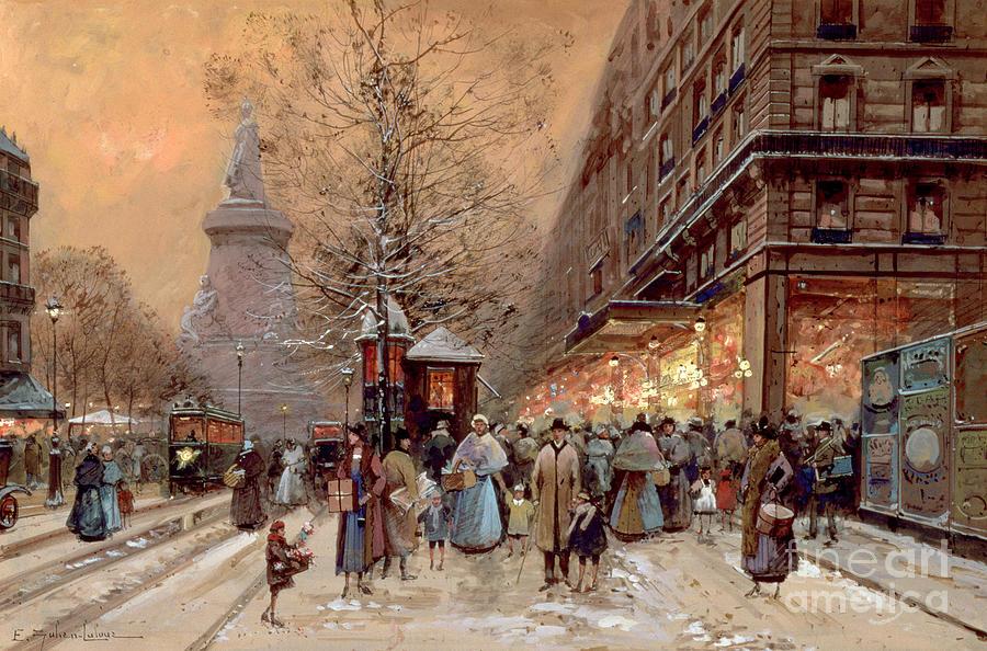 Winter Painting - A Busy Boulevard near the Place de la Republique Paris by Eugene Galien-Laloue