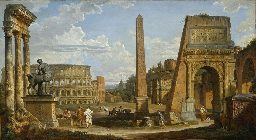 Image result for roman ruins painting
