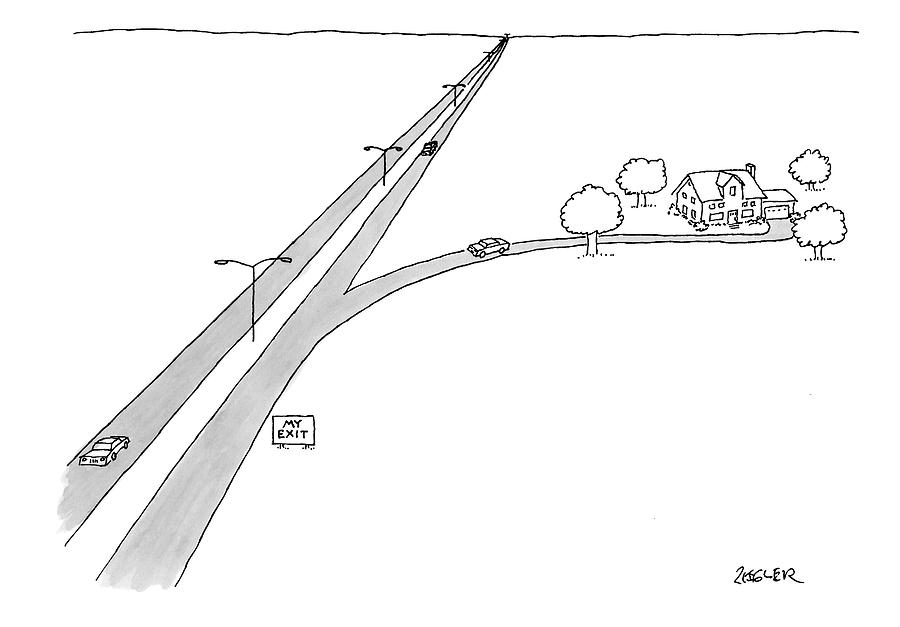 A Car Pulls Off A Highway Drawing by Jack Ziegler