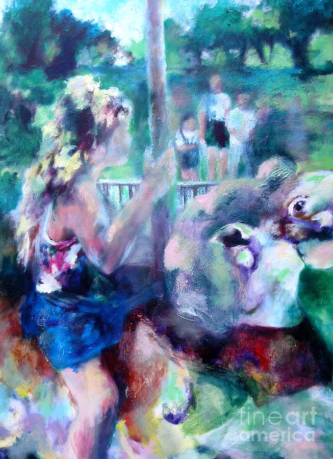 Girl Painting - A Carousel Ride by Patrice Burkhardt