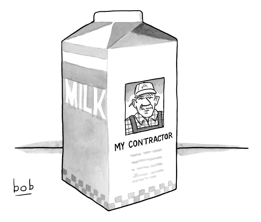 A Carton Of Milk Sits On A Table With A Photo Drawing by Bob Eckstein