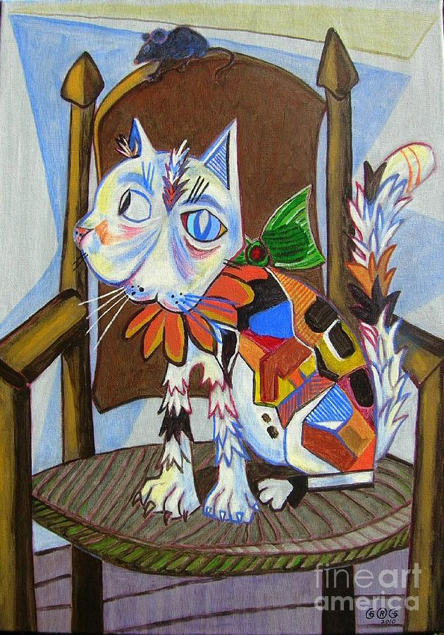 Cats Painting - A Cat For Picasso_ Chat Et Souris by George I Perez