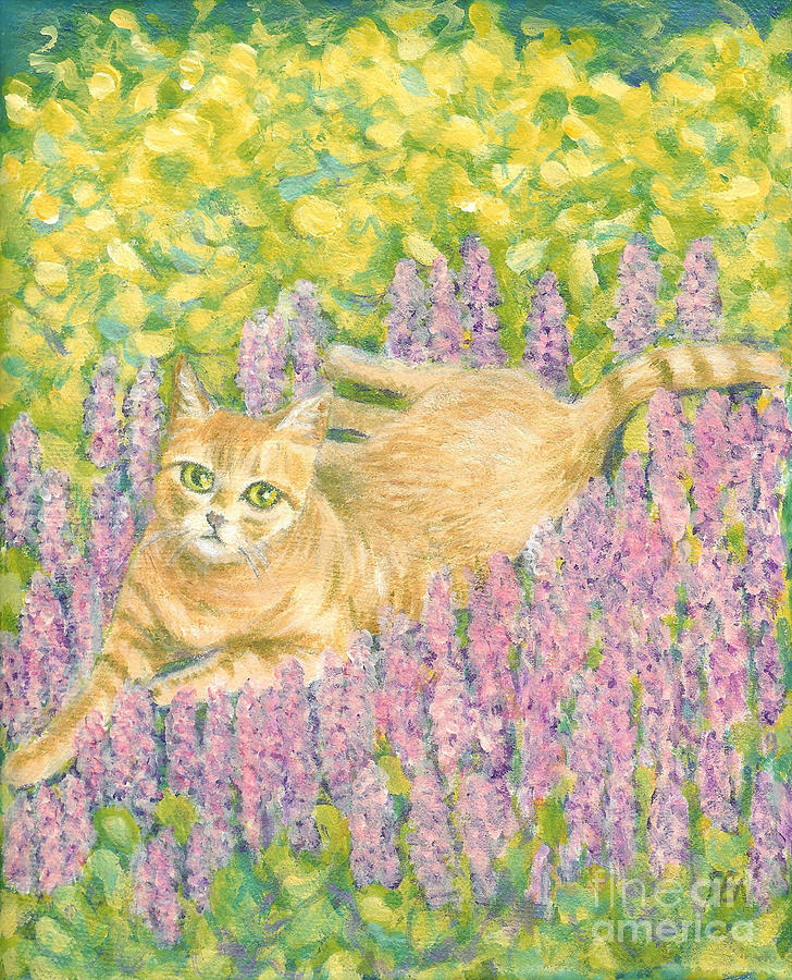 Orange Cat Painting - A Cat Lying On Floral Mat by Jingfen Hwu