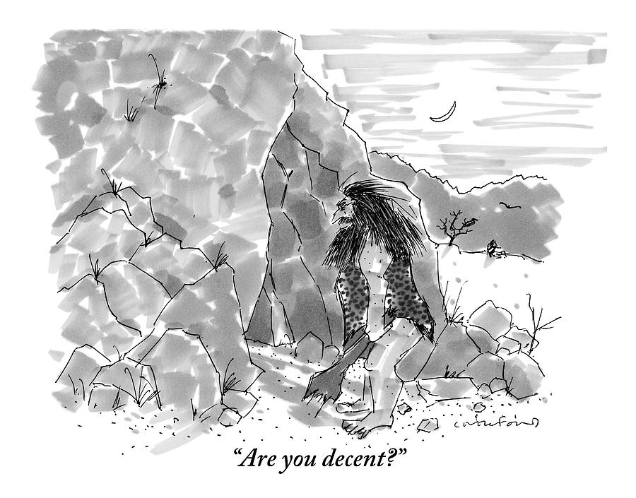 A Caveman Calls Into Cave From Entrance Drawing by Michael Crawford