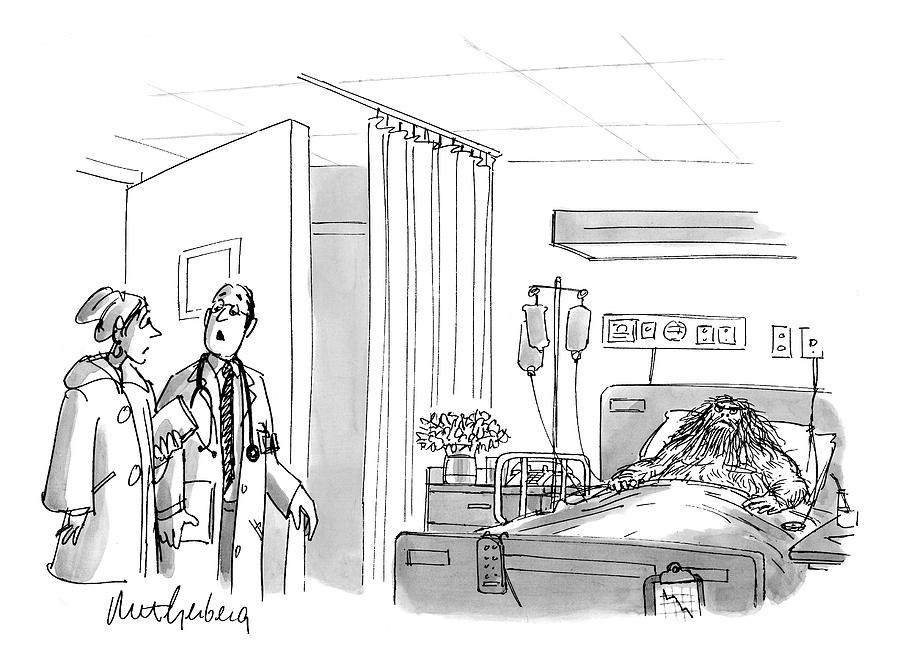 A Caveman Is Seen Lying In Hospital Bed Drawing By Mort Gerberg