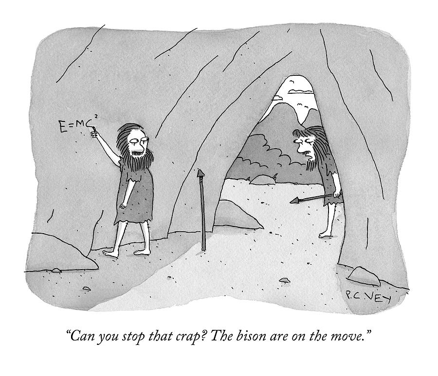 A Caveman Speaks To Another Caveman Who Drawing by Peter C Vey