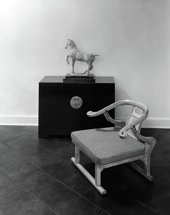 A Chair, Bedside Cabinet And Sculpture Of A Horse Photograph by Haanel Cassidy