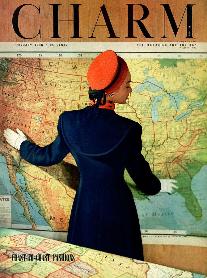 A Charm Cover Of A Model By An American Map Photograph by Hal Reiff