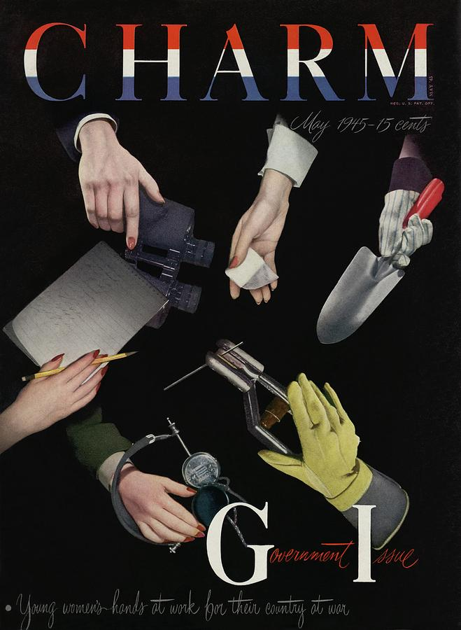 A Charm Cover Of Womens Hands Reaching For Tools Photograph by George Karger