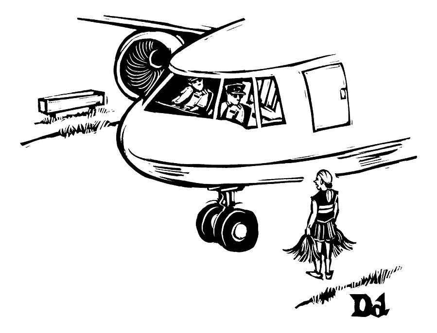 A Cheerleader Standing On The Tarmac Addresses Drawing by Drew Dernavich