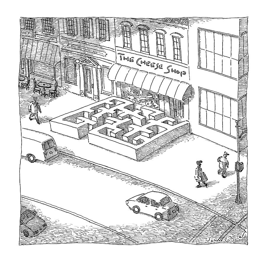A Cheese Shop Has The Exterior Of A Mouse Maze Drawing by John OBrien