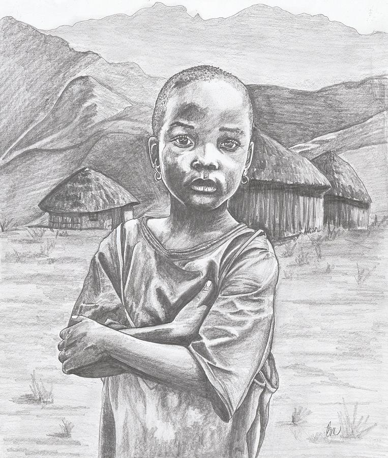 Child Painting - A Child Of Africa by Beverly Marshall