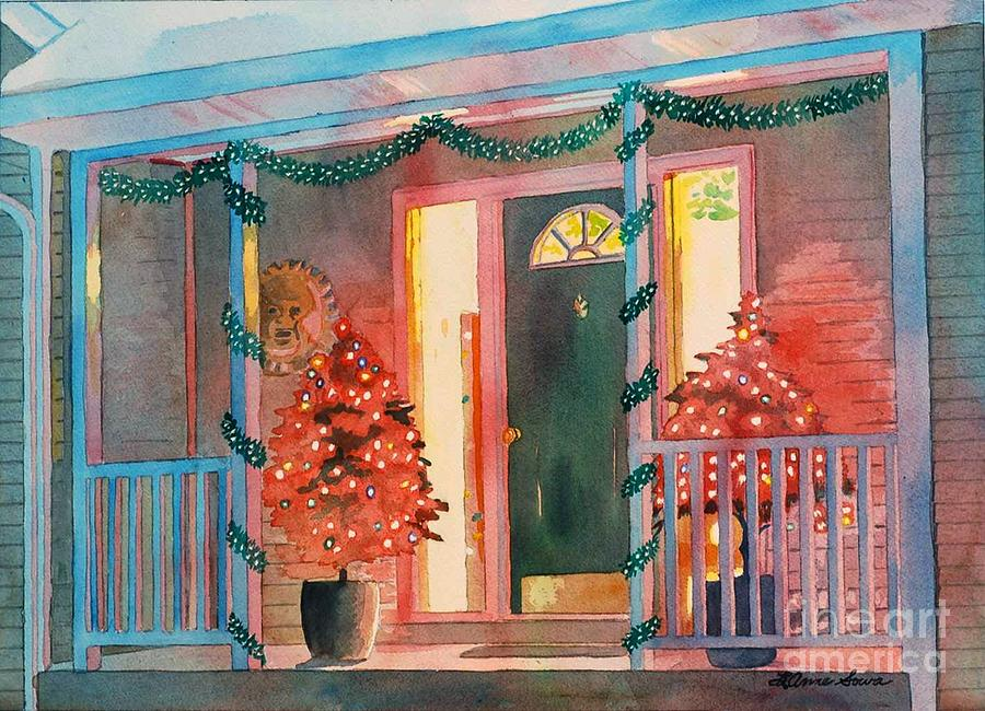 Christmas Painting - A Christmas At Home, House Prints, Porch Prints, House Paintings, House Prints, Christmas Paintings, by LeAnne Sowa