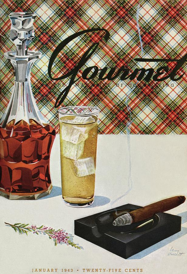 A Cigar In An Ashtray Beside A Drink And Decanter Photograph by Henry Stahlhut