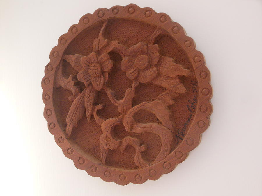 Wood Sculptures Sculpture - A Circle Of Flowers by Esther Newman-Cohen