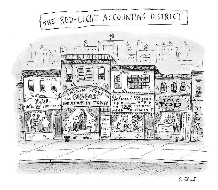 A City Block Is Full Of Buildings With Glass Drawing by Roz Chast