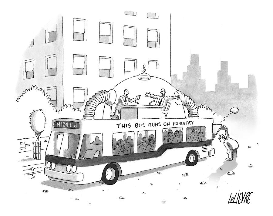 A City Bus Is Seen With A Rooftop Bubble Drawing by Glen Le Lievre