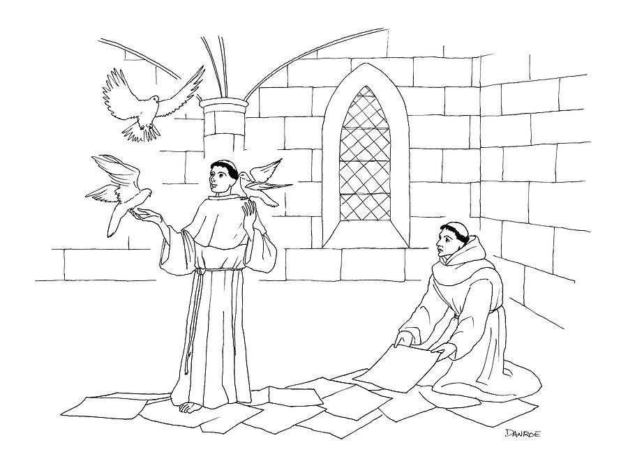 A Clergyman Handles Three Doves/pigeons Drawing by Dan Roe