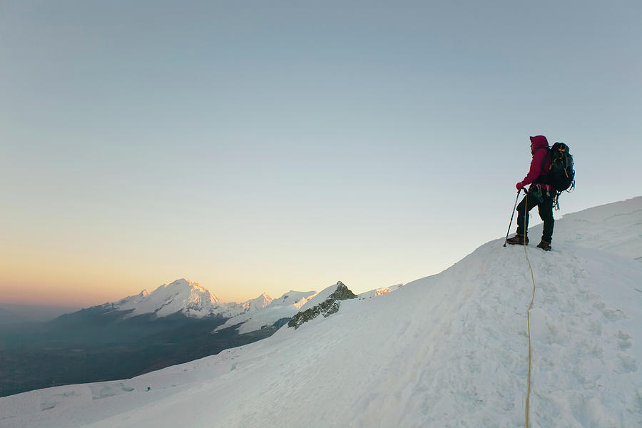 Adventure Photograph - A Climber Standing On The Snow by Marcos Ferro