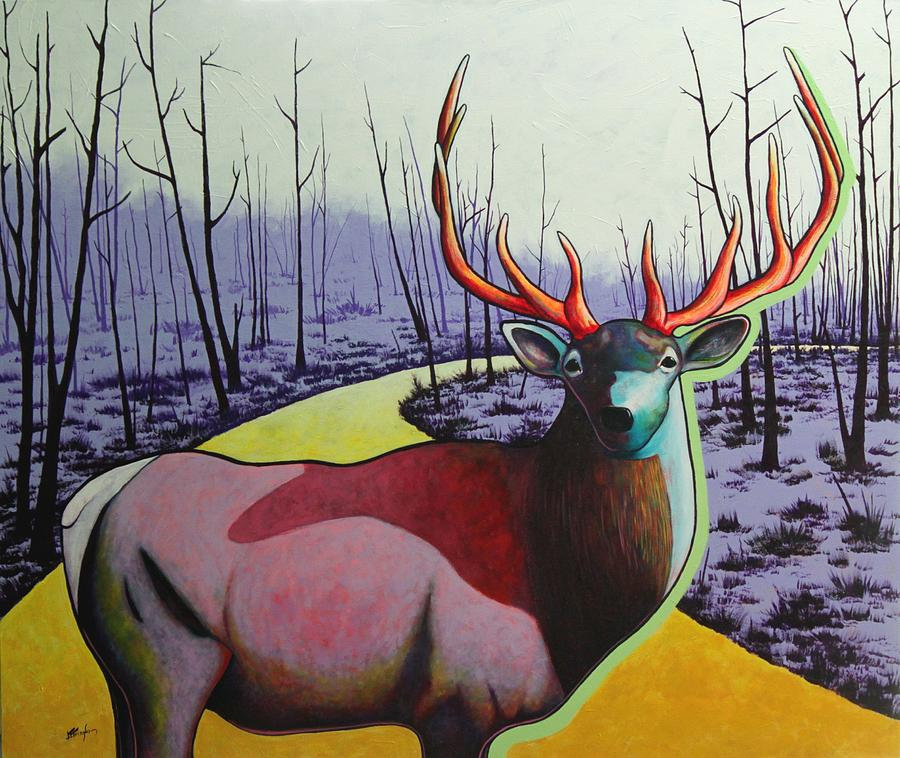 Wildlife In Yellowstone Park Painting - A Close Encounter In Yellowstone by Joe  Triano