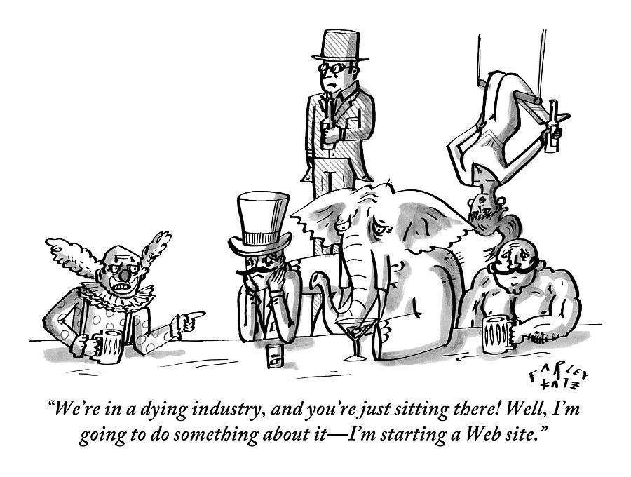 A Clown Gives Advice To A Disheartened Group Drawing by Farley Katz