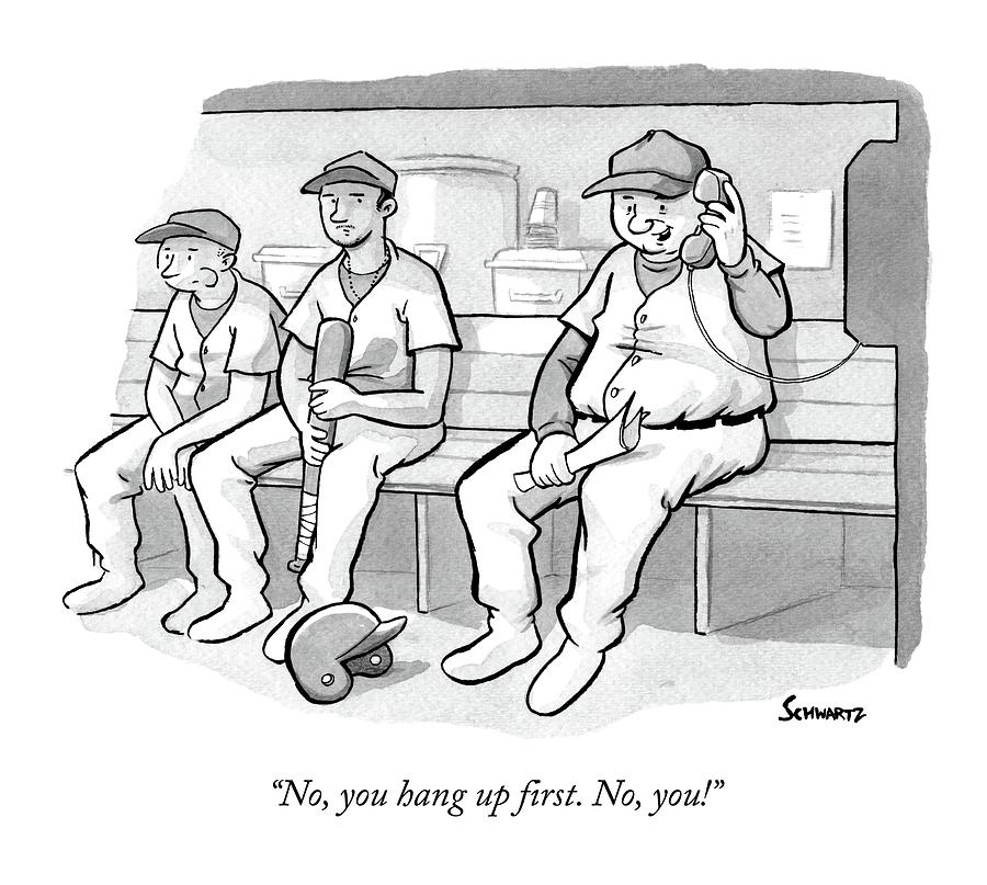 A Coach In A Baseball Dugout Speaks On The Phone Drawing by Benjamin Schwartz
