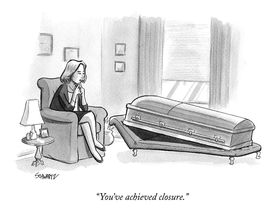 A Coffin Lays On An Analysts Couch Drawing by Benjamin Schwartz