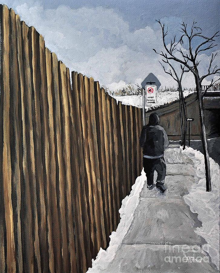 Montreal Painting - A Cold Day In Pointe St. Charles by Reb Frost