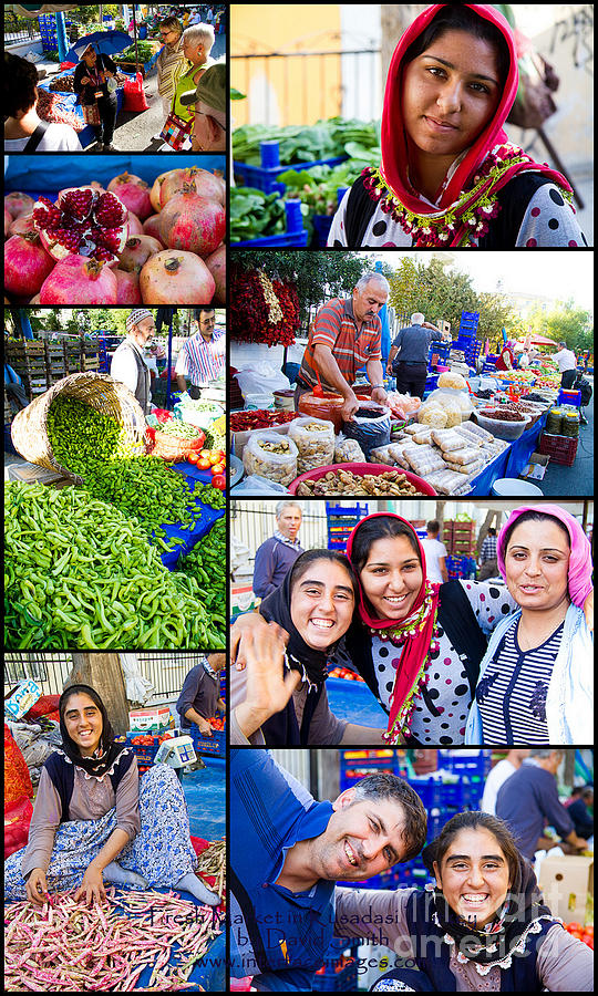 Collage Photograph - A Collage Of The Fresh Market In Kusadasi Turkey by David Smith