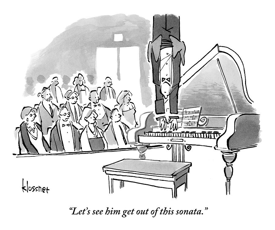 A Concert Pianist Hangs Upside Drawing by John  Klossner