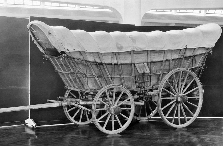 1850 Photograph - A Conestoga Covered Wagon by Underwood Archives