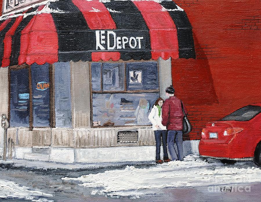 Verdun Painting - A Conversation Near Le Depot by Reb Frost